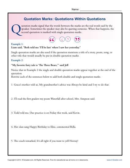 Quotation Marks Quotations Within Quotations Grammar Worksheets Punctuation Worksheets Quotations Middle School Grammar Worksheets Quotation marks worksheets second grade
