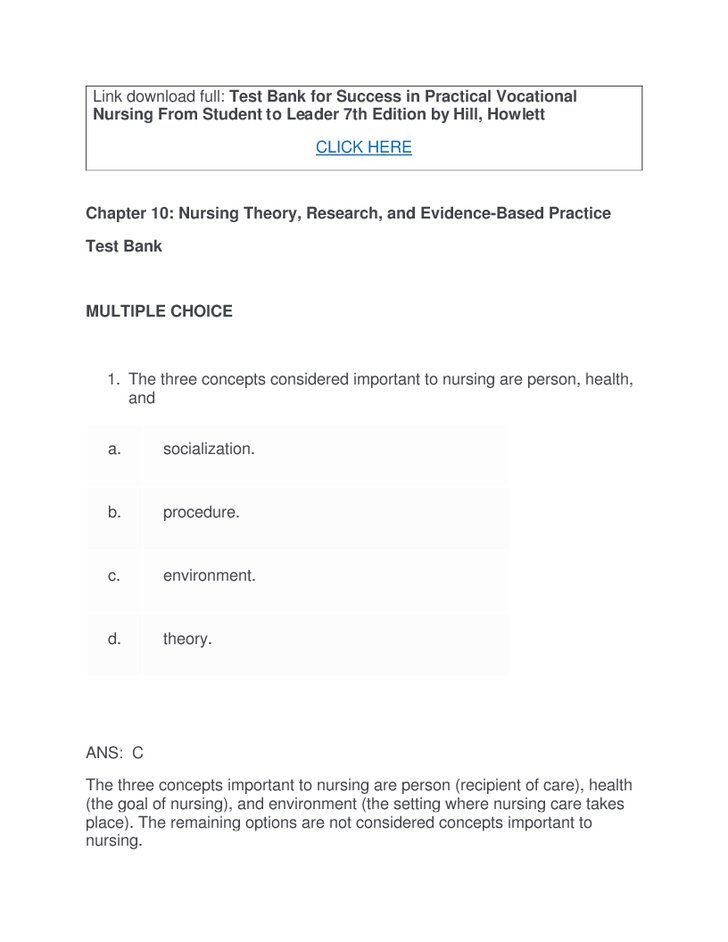 Test Bank for Success in Practical Vocational Nursing From Student - vocational nurse sample resume