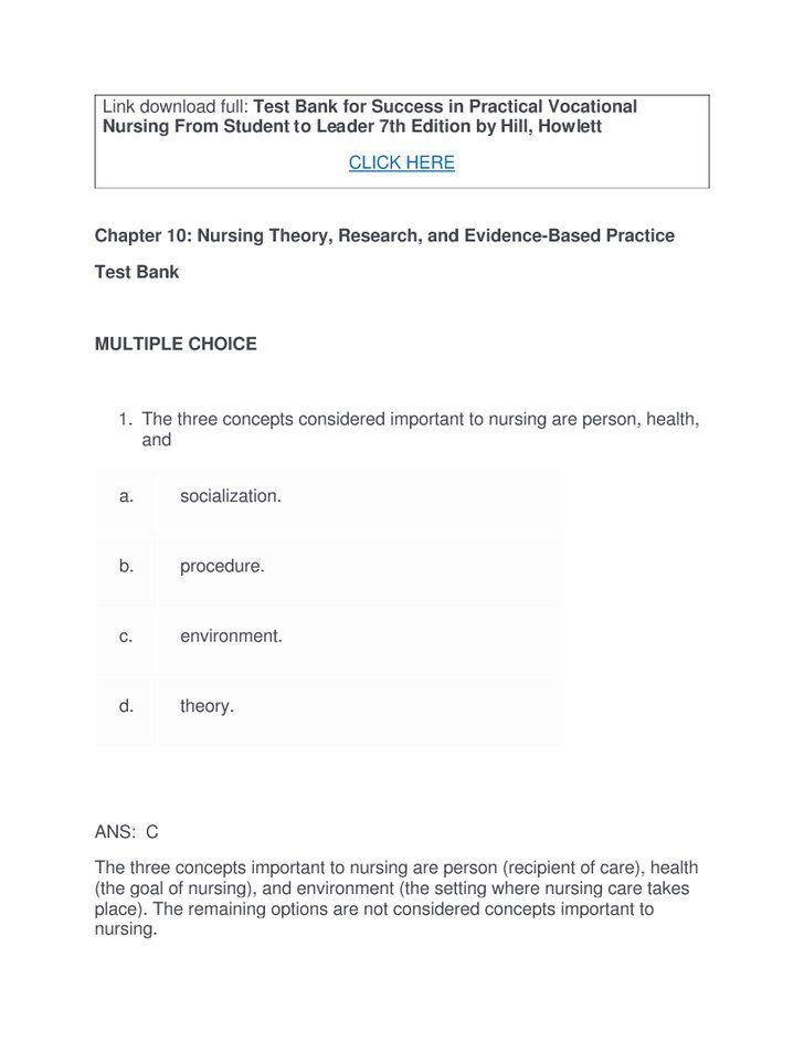 Test Bank for Success in Practical Vocational Nursing From Student - vocational nurse sample resume