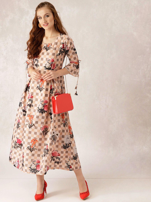 531dce817c7 Buy Libas Women Beige Floral Print Checked Maxi Dress - Dresses for Women  7164925
