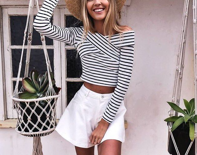 Striped long sleeve with white shorts