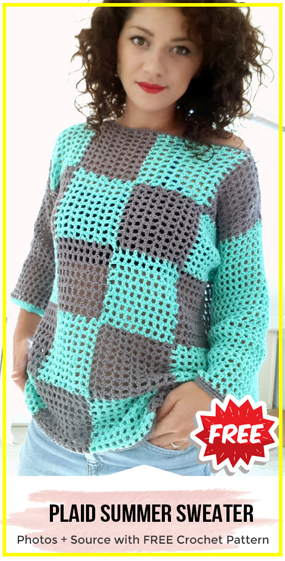 crochet Plaid Summer Sweater free pattern