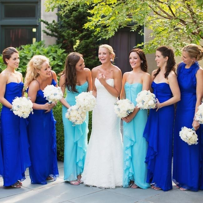 The Bridesmaids Wore Blue Chiffon Dresses In Diffe Silhouettes Maids Of Honor A Lighter Shade To Distinguish Themselves