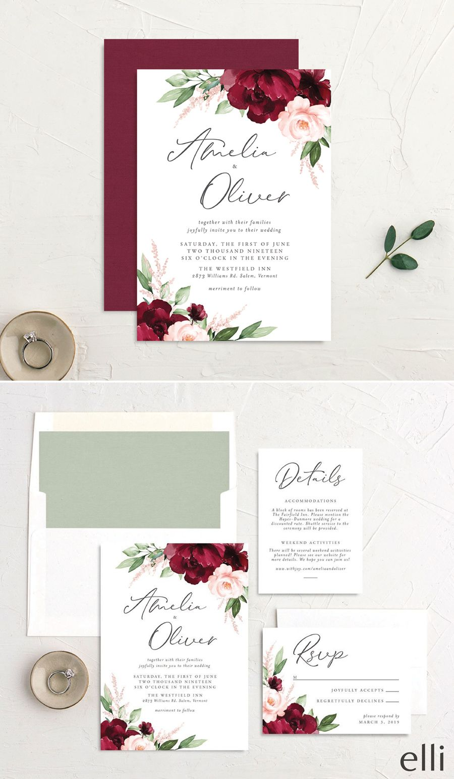Leaves Floral Wedding Invitation Suite
