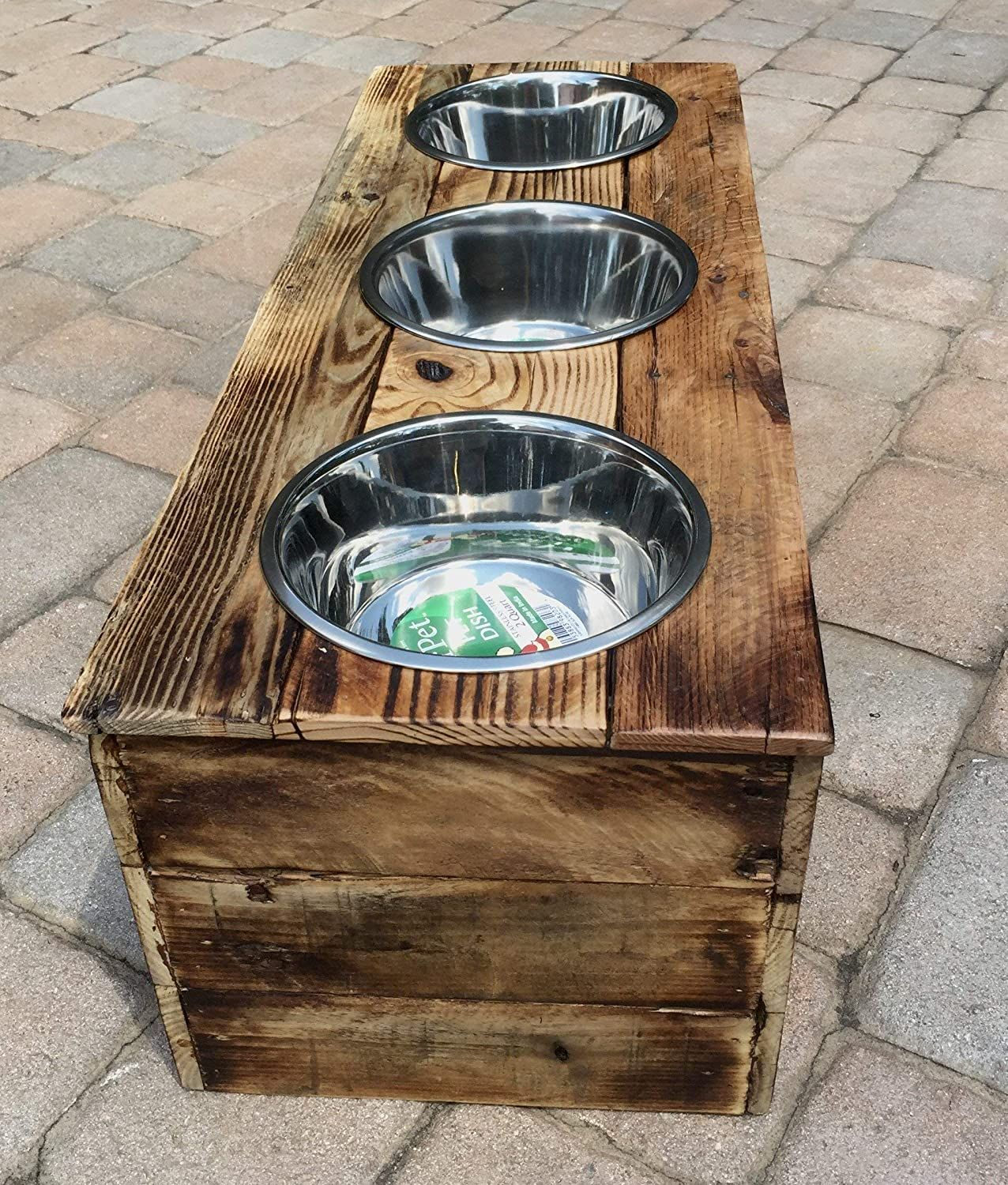 Elevated Small Three Bowl Pet Feeder From Reclaimed Pallet Wood