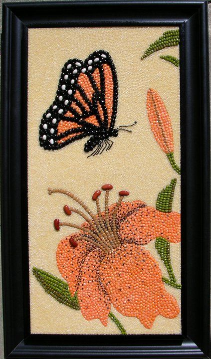 Butterfly Monarch Seed Bead Art Seed Art Mosaic Art