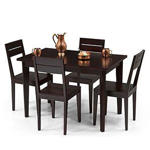 Sanders 4 Seater Dining Table Set Mahogany Finish