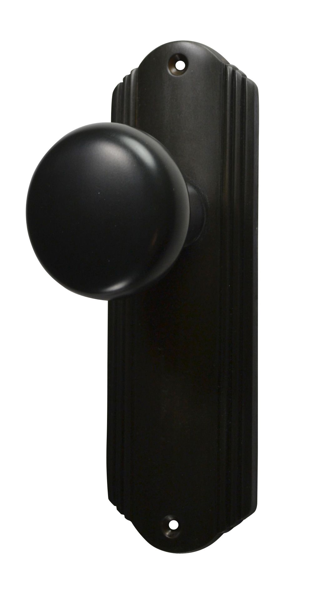 Beautiful Solid Brass Round Door Knob Set With Art Deco Back Plate (Oil Rubbed Bronze  Finish