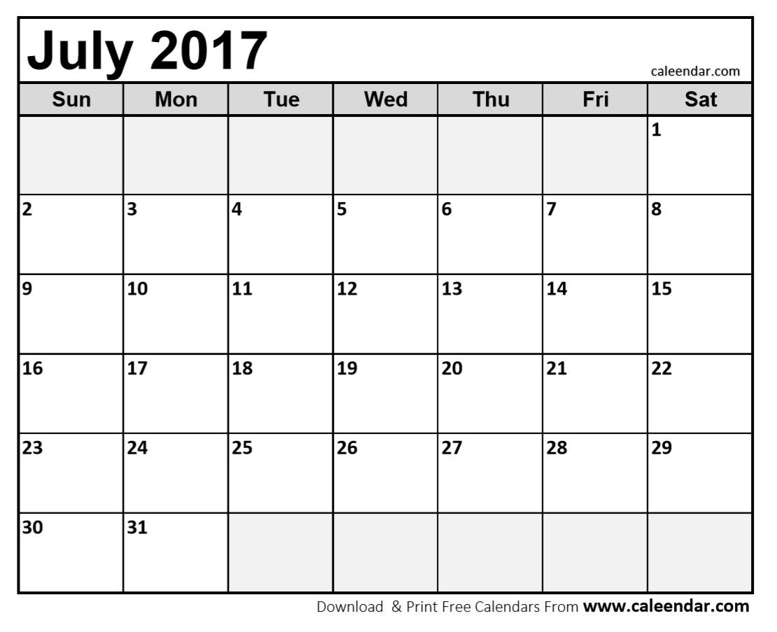 July 2017 Calendar Printable | July 2017 Calendar | Pinterest ...