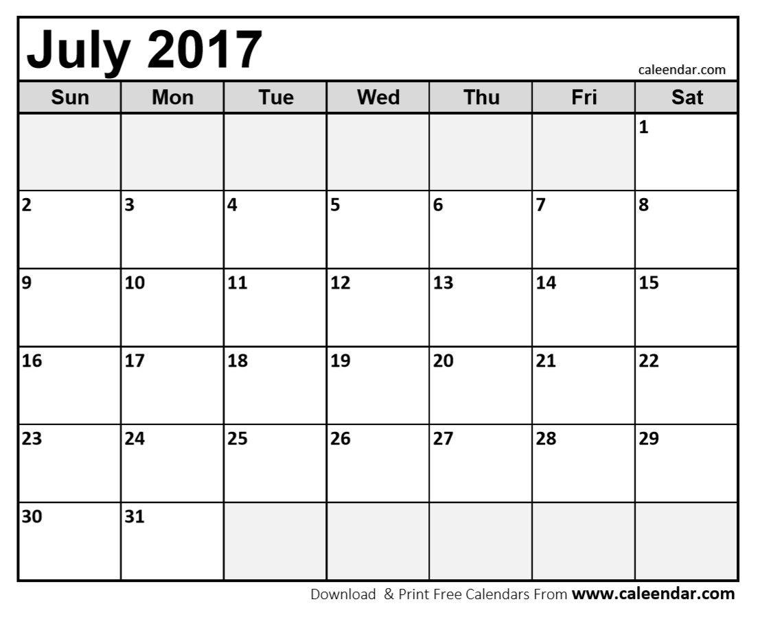 calendar july 2017
