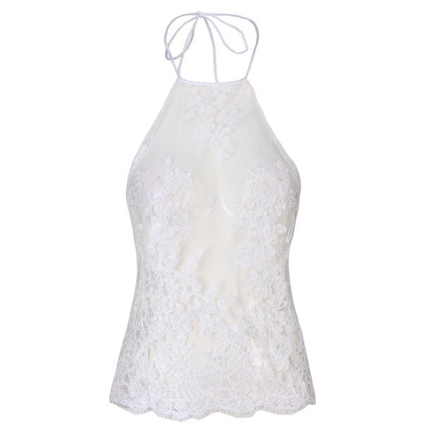 3490a7b7daa804 White Halter Backless Sheer Lace Crop Top ( 18) ❤ liked on Polyvore  featuring tops