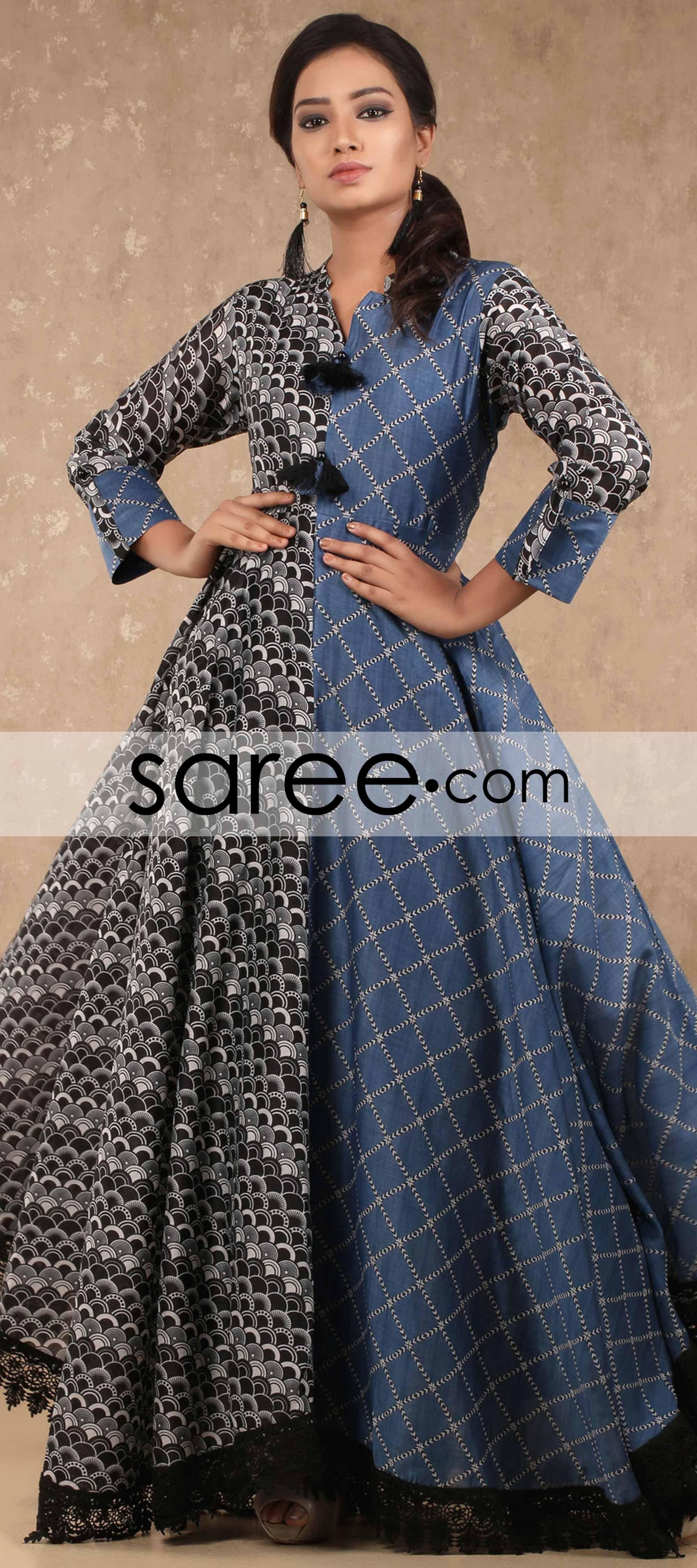 Black and blue cotton silk designer kurti gardens pinterest