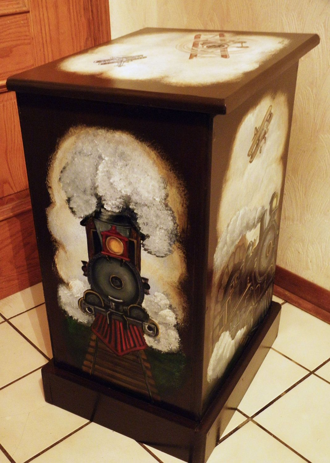 Custom designed Wooden Hamper with vintage train theme RESERVED LISTING. $160.00, via Etsy.