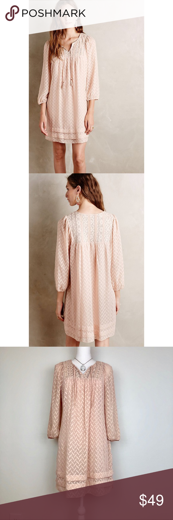913a6145c7e45 Anthro Anwen Peasant Dress By One September. Woven viscose with sheer  embroidered cotton yoke,