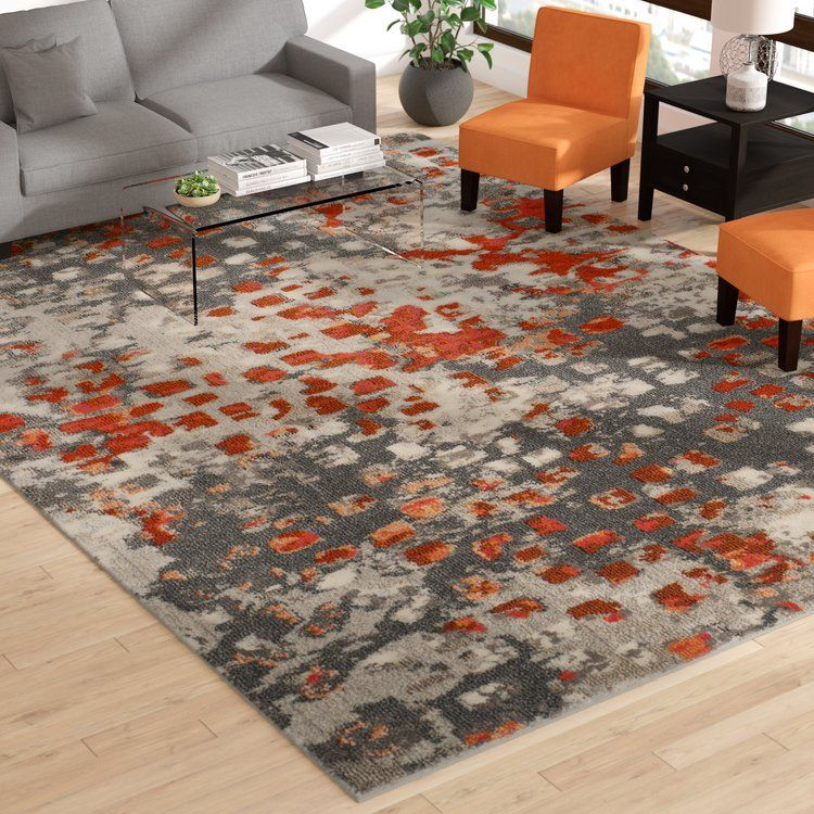 Mistana Indira Abstract Gray Orange Area Rug Orange Area Rug Living Room Orange Grey And Orange Living Room