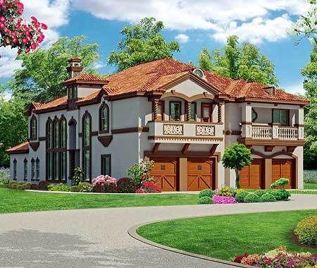 Plan 36354tx Asymmetrical Mediterranean Duplex Duplex House Plans Family House Plans House Plans