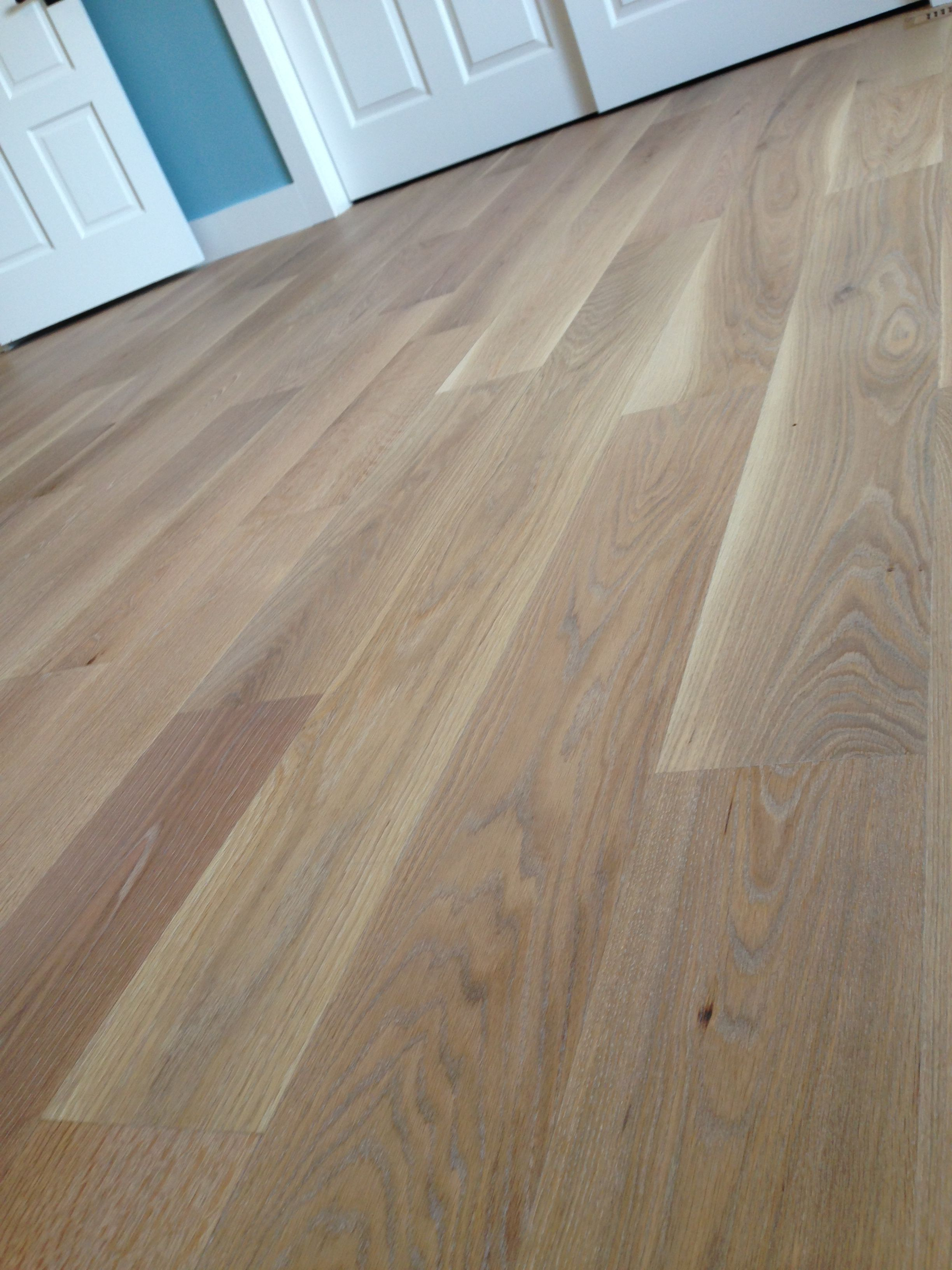 "JOB WE INSTALLED American white oak solid 7"" wide with Woca white"