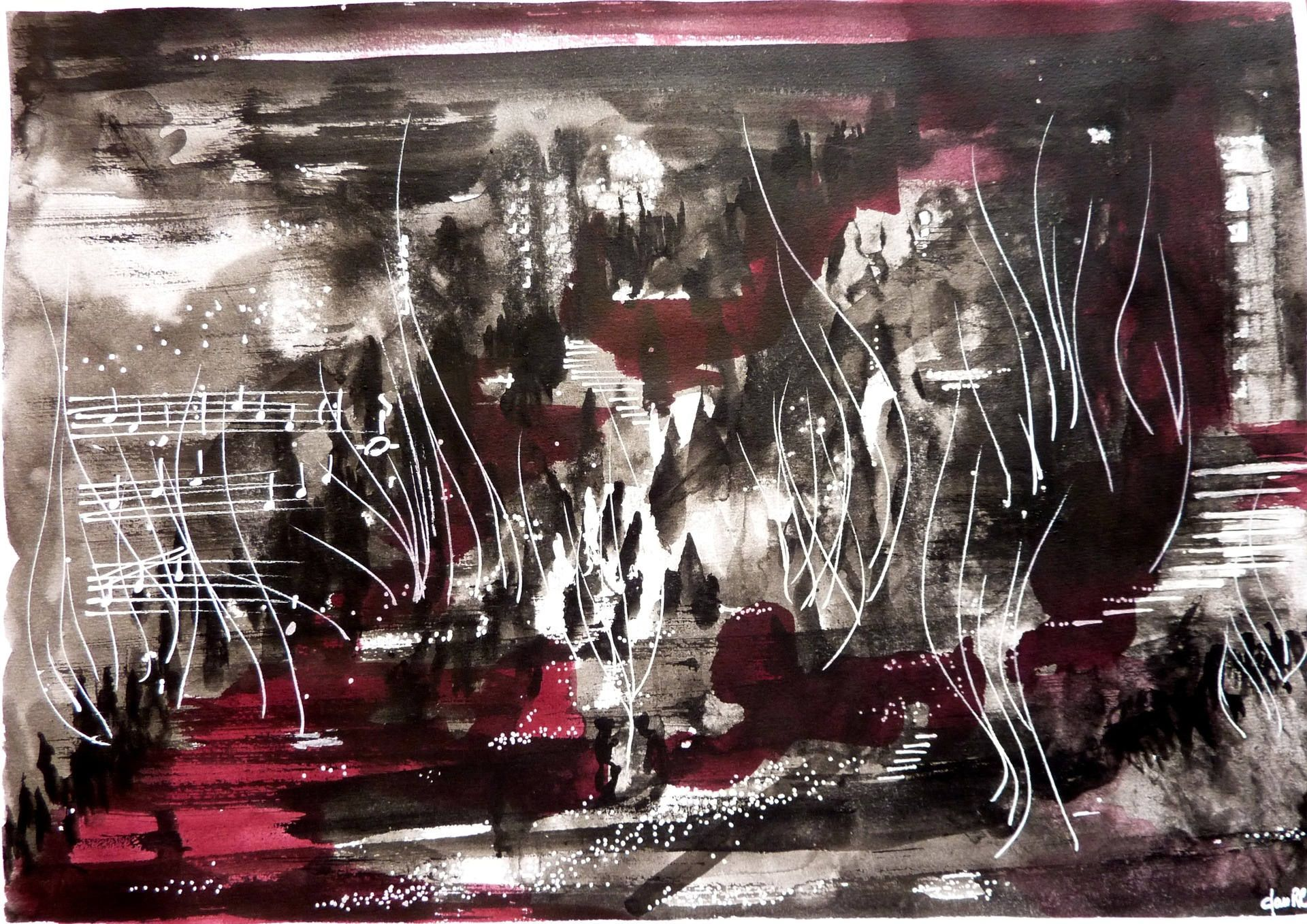 Contemporaine Peinture Abstraite Vocatrice L Encre De Chine