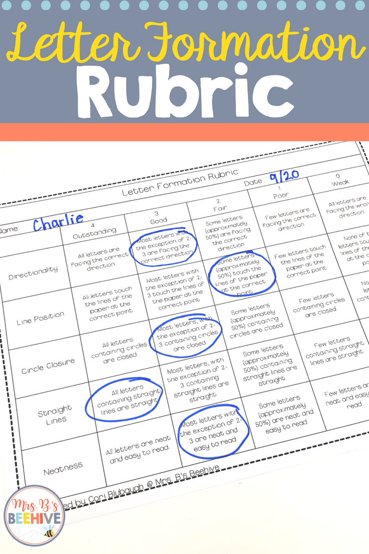 Letter Formation Rubric Mrs B S Beehive Letter Recognition Kindergarten Rubrics Writing Rubric [ 1102 x 735 Pixel ]