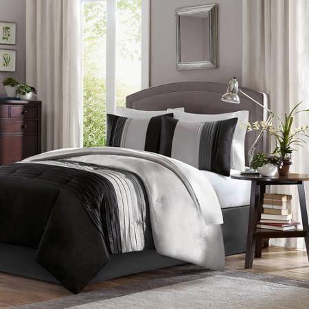 Better Homes And Gardens 4 Piece Perfectly Pleated Stripe Bedding Comforter Set Comforter Sets Bed Comforter Sets King Comforter Sets