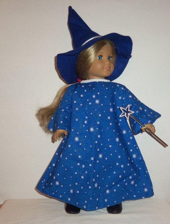 18 inch doll wizard costume felt wizard hat long blue dress