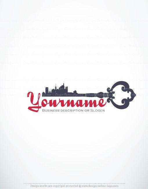 real estate key logos | Exclusive Design: Real Estate key Logo + Compatible FREE Business