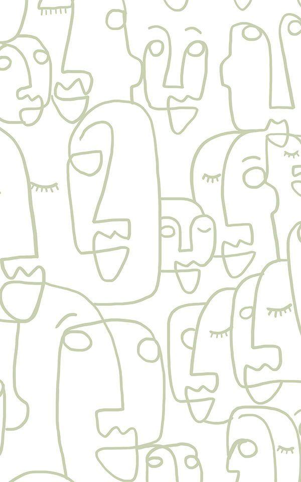 Sage Line Drawing Wallpaper | Face Design | MuralsWallpaper