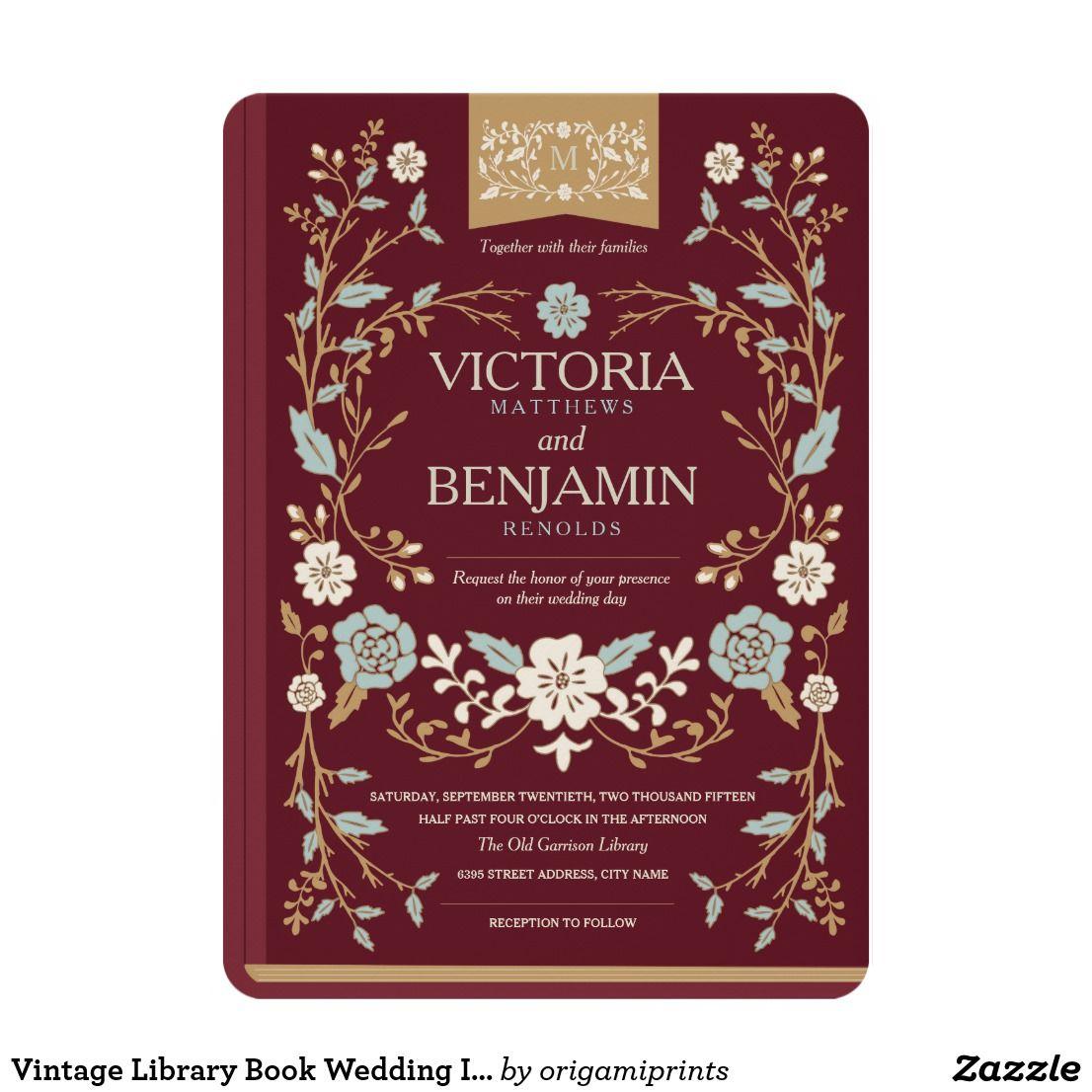 Vintage Library Book Wedding Invite | Pinterest | Vintage library ...