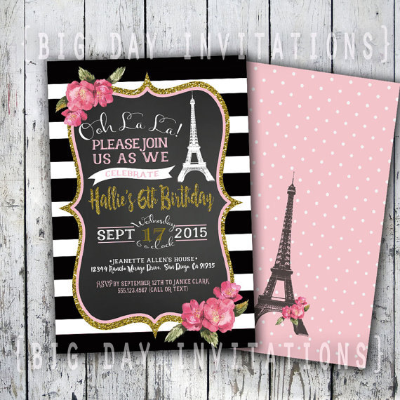 Paris Birthday Invitation Eiffel Tower Invite Paris Invitation