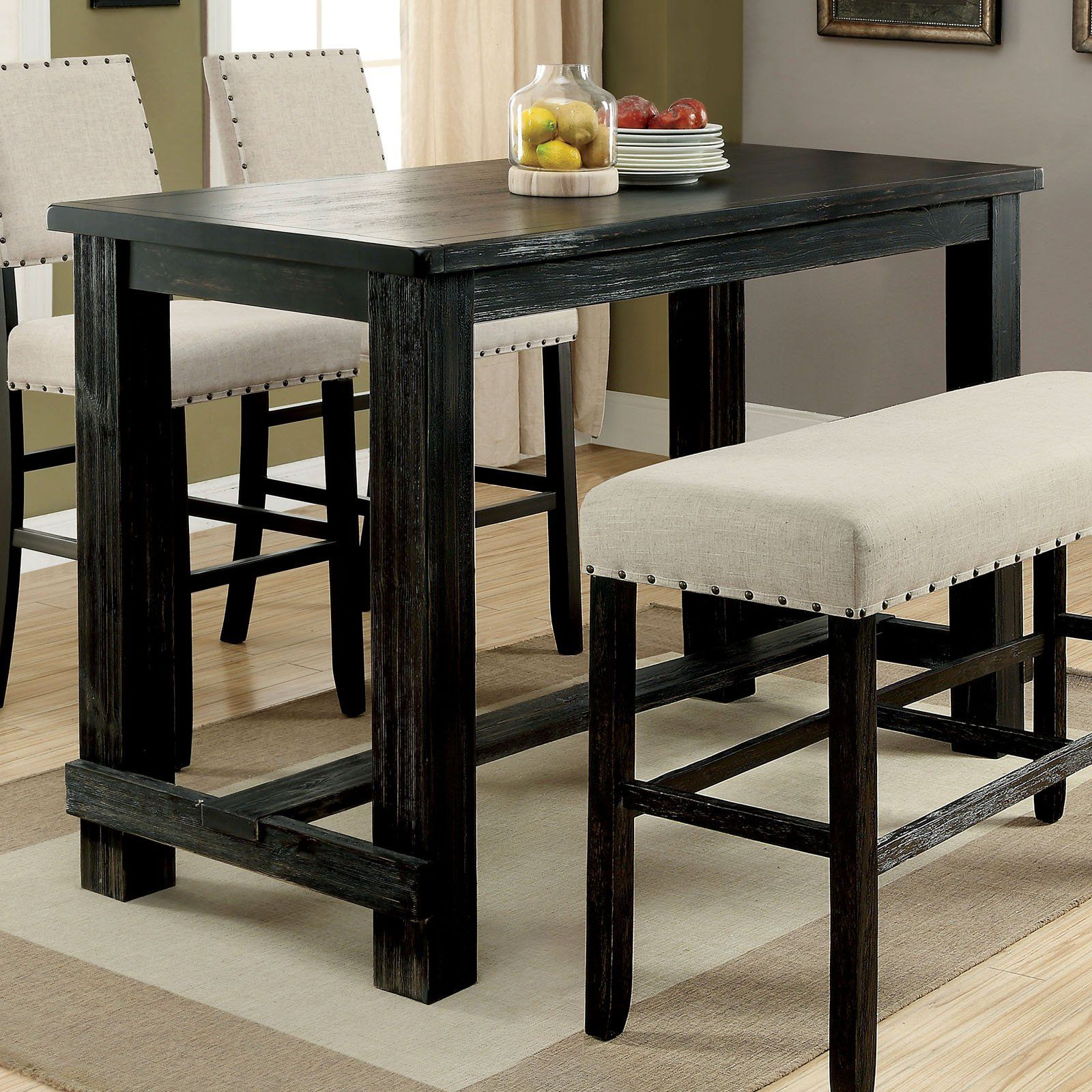 Furniture Of America Helin Ii Bar Height Dining Table In 2021 Bar Height Dining Table Dining Table In Kitchen Dining Table Black