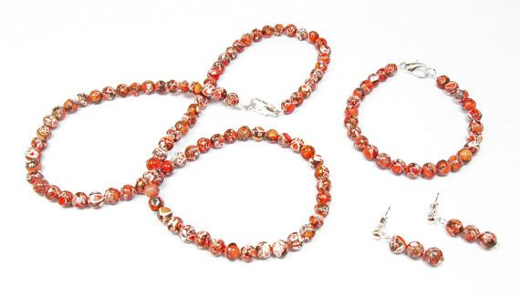 Orange Black and White Agate Jewelry Set by kiddercreations, $38.00