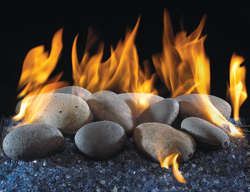 Ceramic River Rocks With Crushed Glass In A Gas Burner Glass Fireplace Gas Logs Gas Fireplace Makeover