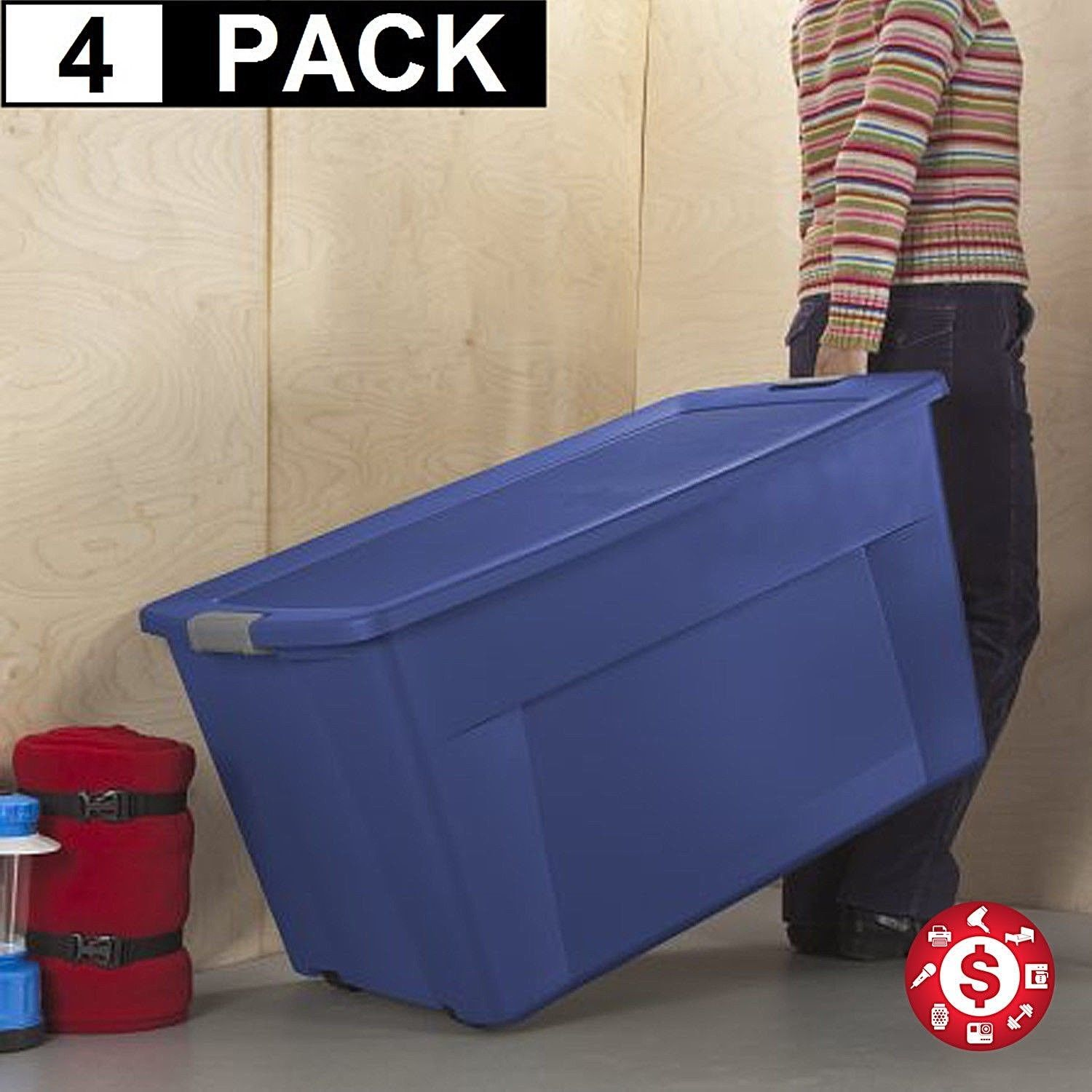 45 Gal Large Plastic Storage Totes Box Blue 4 Stackable Wheeled Container W Lid Plastic Box Storage Large Plastic Storage Boxes Sterilite Storage Containers