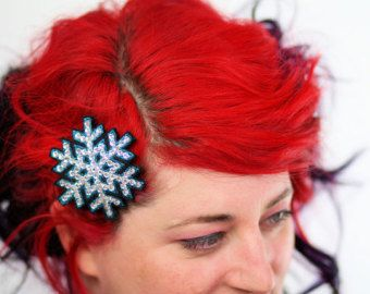 Snowflake Hair Clip, Christmas Barrette, Teal and Rhinestones