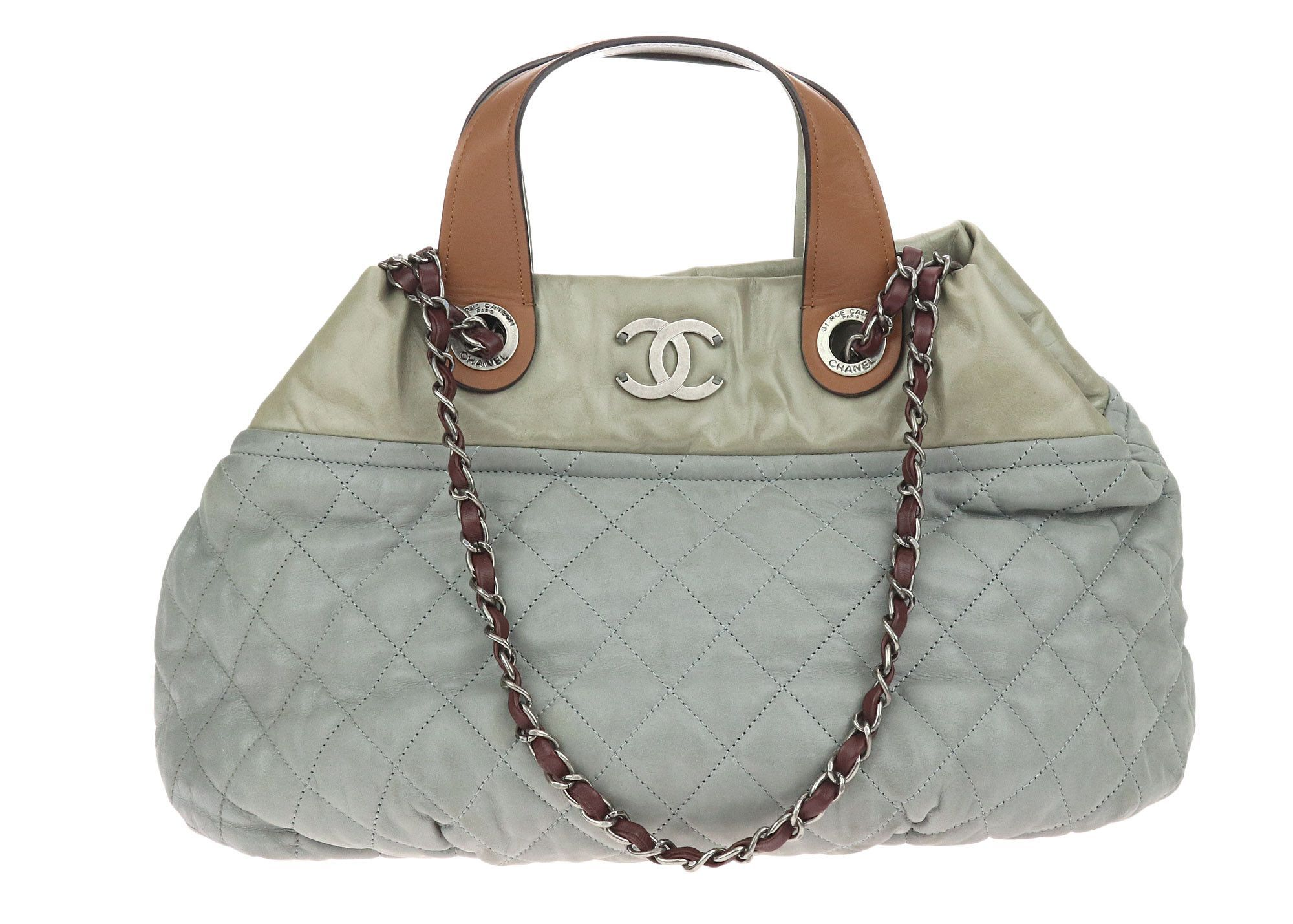 52b7113b0751 Chanel Grey Quilted Iridescent Small In-The-Mix Tote Bag | Products ...