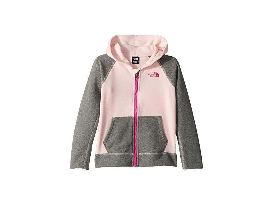 The North Face Kids Glacier Full Zip Hoodie (Toddler) (Purdy Pink) Girl's Sweatshirt. A durable fleece hoodie that's perfect for layering to keeping your little one comfy on the trail. Attached hood. Raglan long sleeves. Full zip closure with zipper garage to protect the chin. Split kangaroo pocket in front. Pile-resistant fleece. Color block or print design. Branding on left chest. 100% polyester. Machine wash  tumble dry. Im #TheNorthFaceKids #Apparel #Top #Sweatshirt #Pink