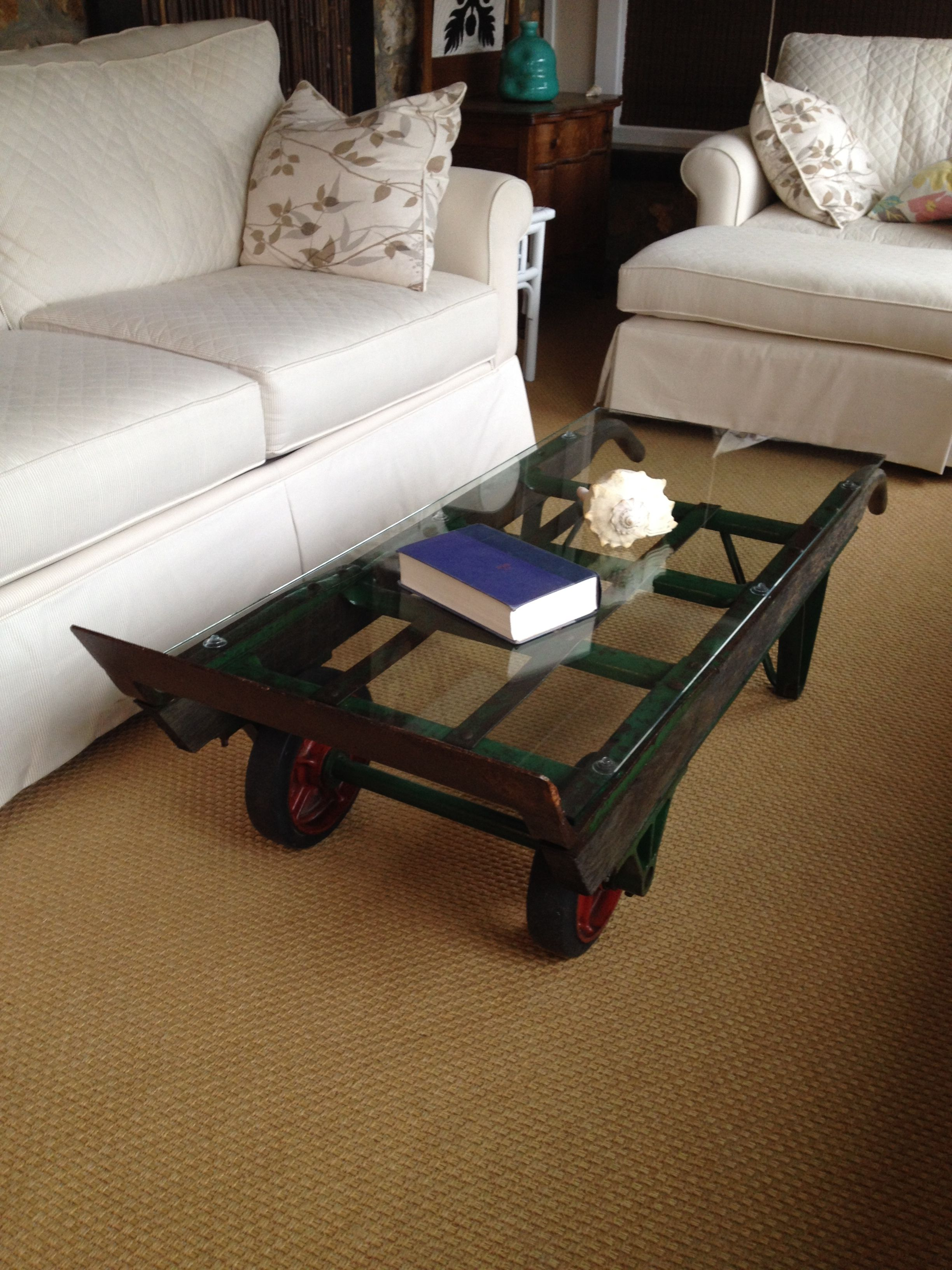 vintage hand truck turned into a coffee table. | woodworking