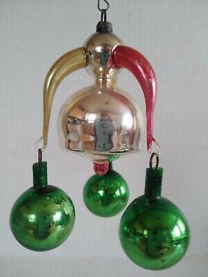 Antique Glass Christmas Tree Ornament 3 Arm Chandelier ...