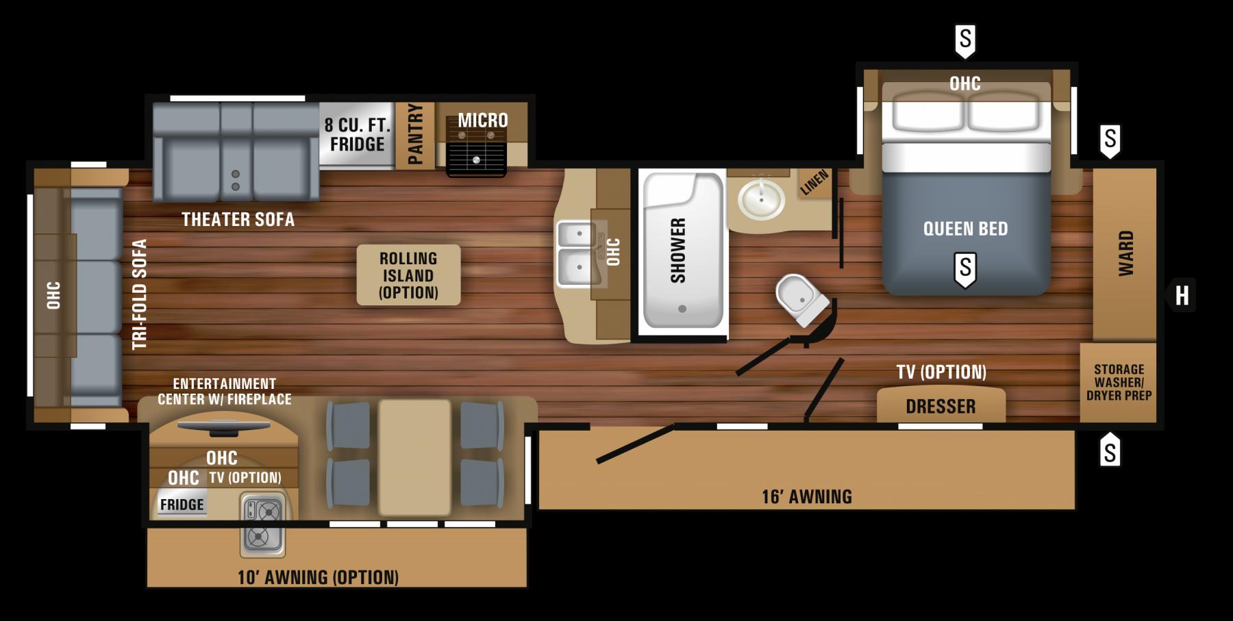 2018 Eagle Travel Trailer 322rlok Floorplan Travel Trailer Floor Plans Jayco Floor Plans