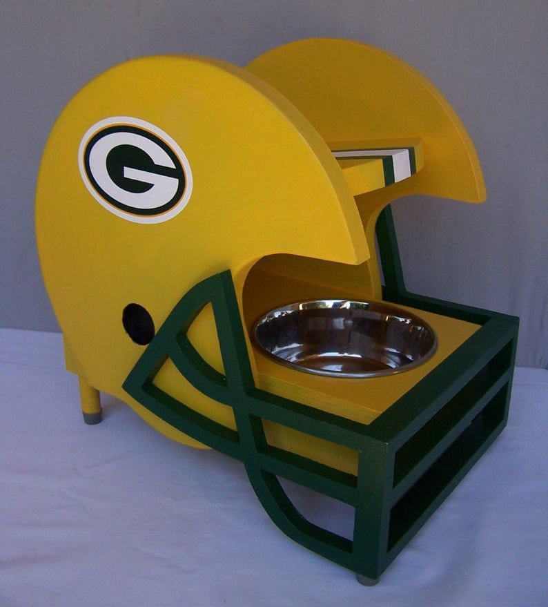 Football Helmet Pet Feeder Green Bay Packers Em 2020 Quadros Decorativos Com Frases