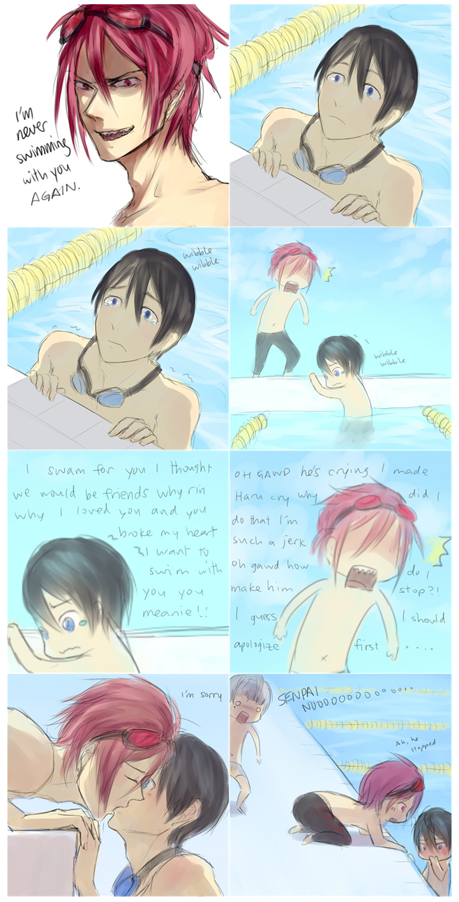 I'll never swim with you again (from left to right and top to bottom) ...   Free! - Iwatobi Swim Club, free!, iwatobi, rin matsuoka, rin, matsuoka, haru, haruka, nanase, haru nanase, haruka nanase, nitori, aiichiro nitori, aiichiro