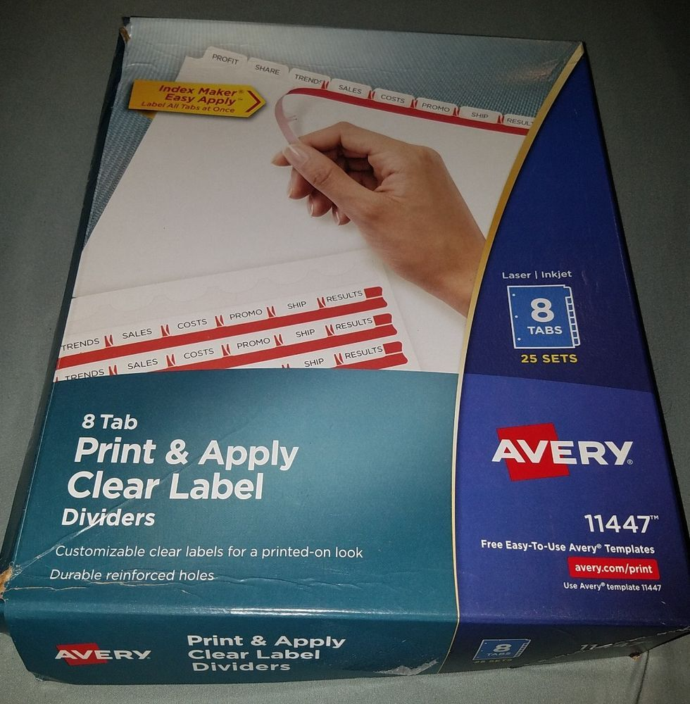 Avery 11447 Index Maker Clear Label Divider 8 Tab 25 Sets Print