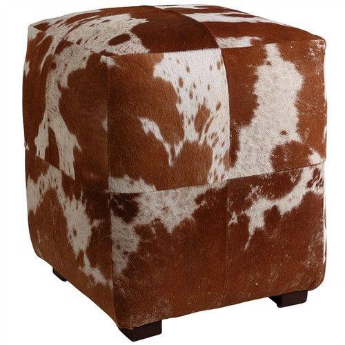 Arteriors Home Otto Leather Cube Ottoman Rustic Ottoman