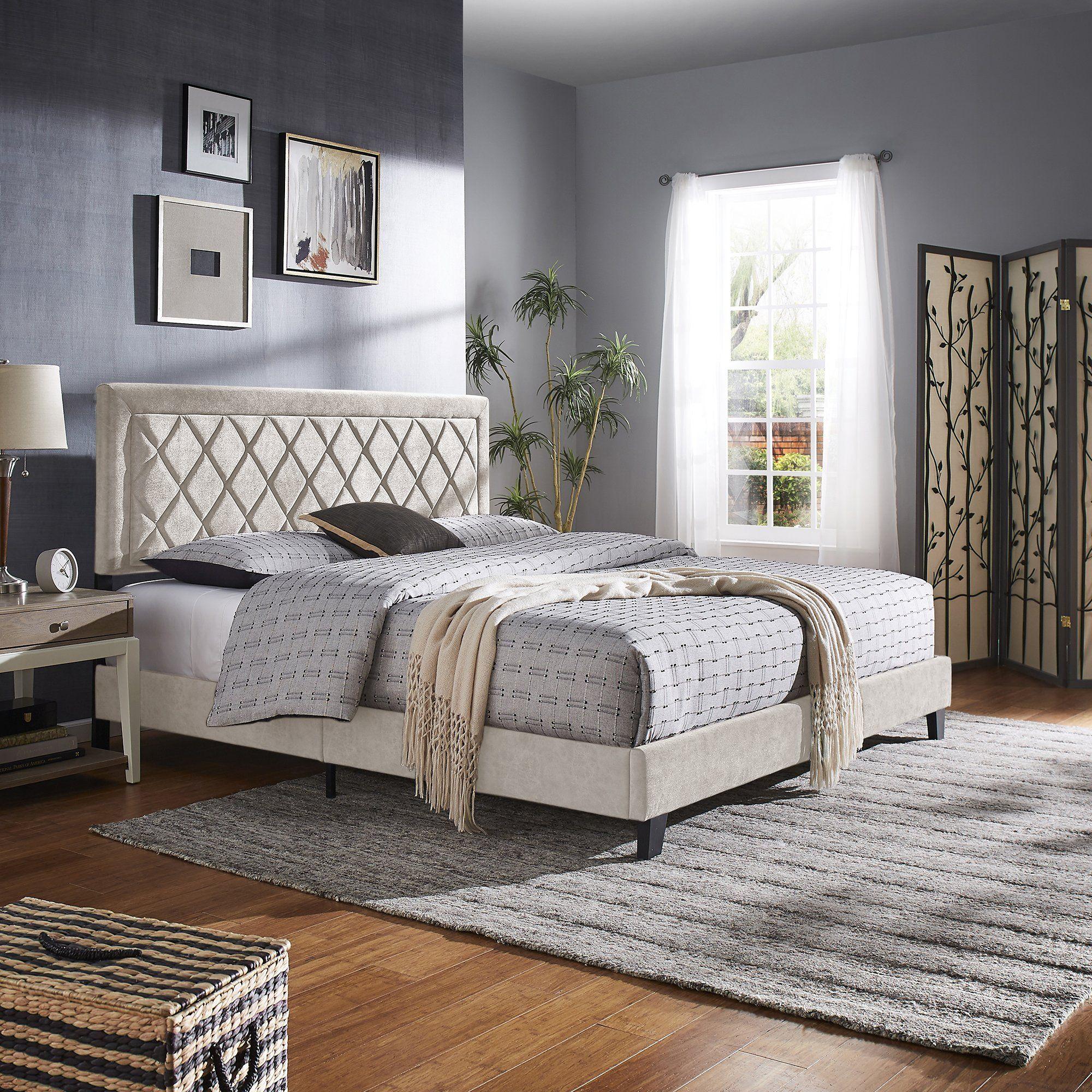 Black Finish Frame with Velvet Fabric Platform Bed - King Size - Cream White Velvet (King Size)