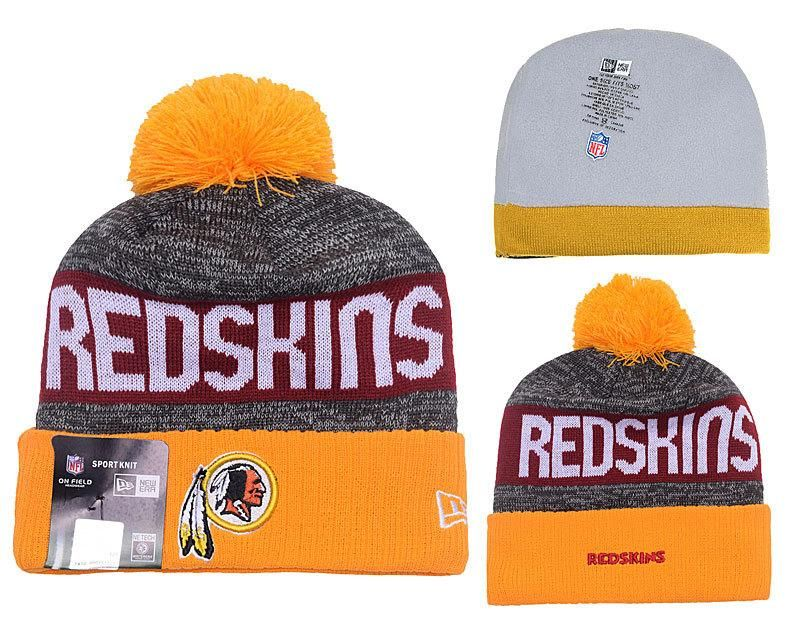 1ef3106eb Men s   Women s Washington Redskins New Era NFL 2016 Sideline Sprots Knit  Pom Pom Beanie Hat - Gold   Grey   Red