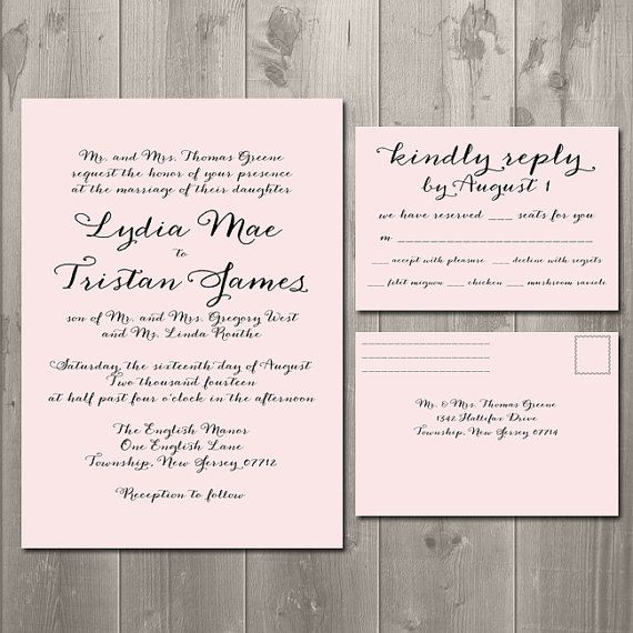 Cost Of Printing Wedding Invitations: Simple Script Wedding Invitation & RSVP Card Or Postcard