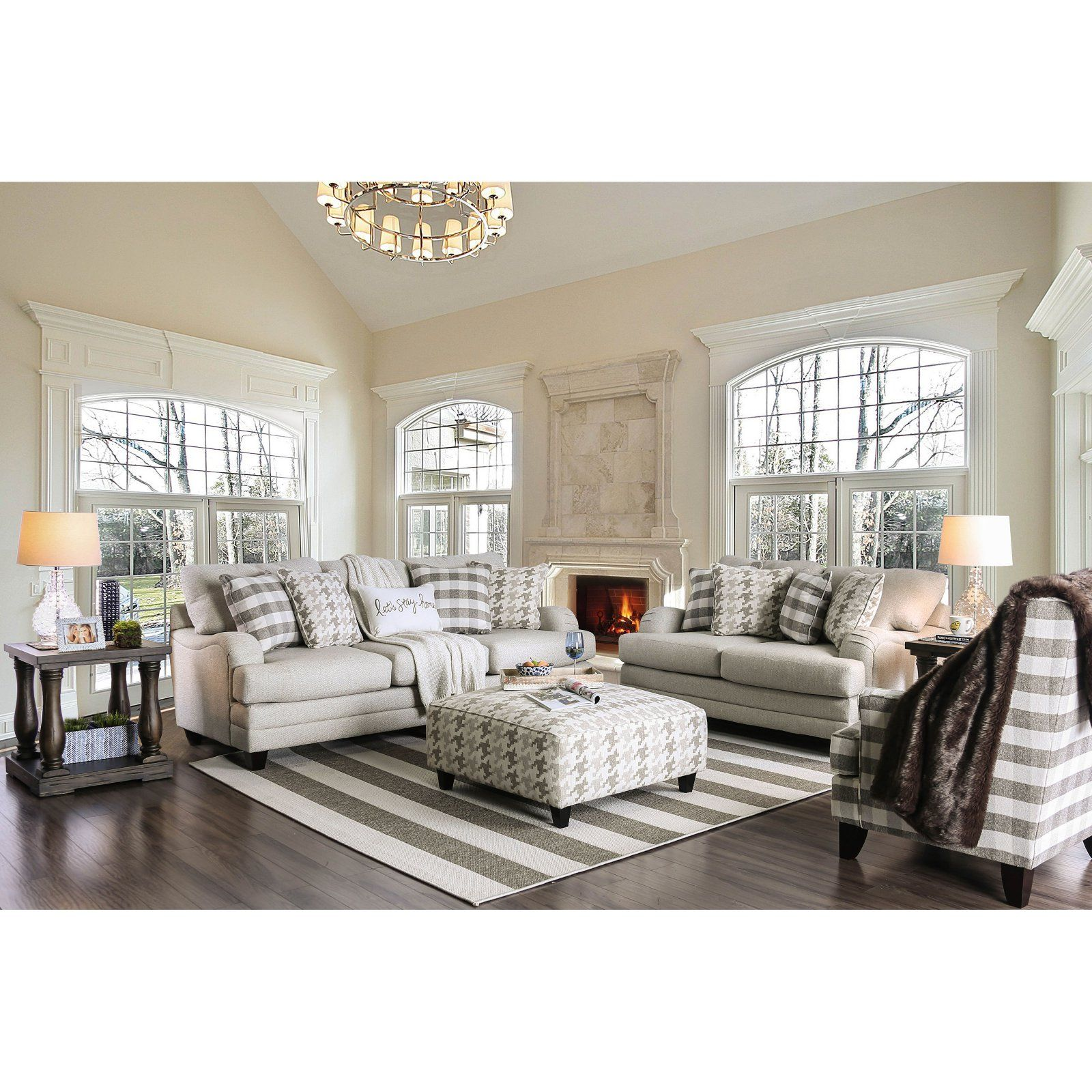 furniture of america perrault 2 piece sofa set  living