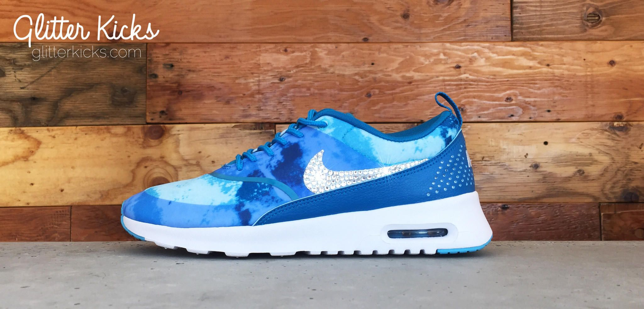 Nike Air Max Thea Print Running Shoes By Glitter Kicks - Customized With  Swarovski Crystal Rhinestones - Blue White 990cde8cad46