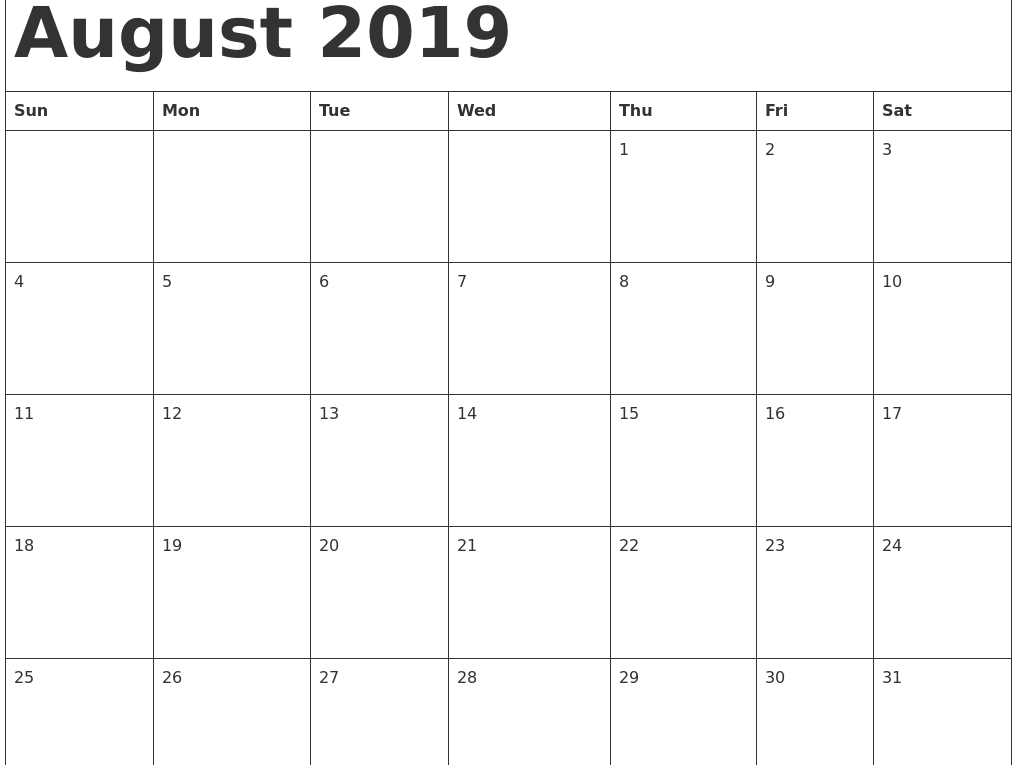 graphic about Free Printable Calendar August named No cost Regular August 2019 Calendar Printable Template Phrase