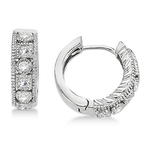 0.50 Ct Round Cut Created Black /& Simulated Diamond Huggie Hoop Earrings 14K White Gold
